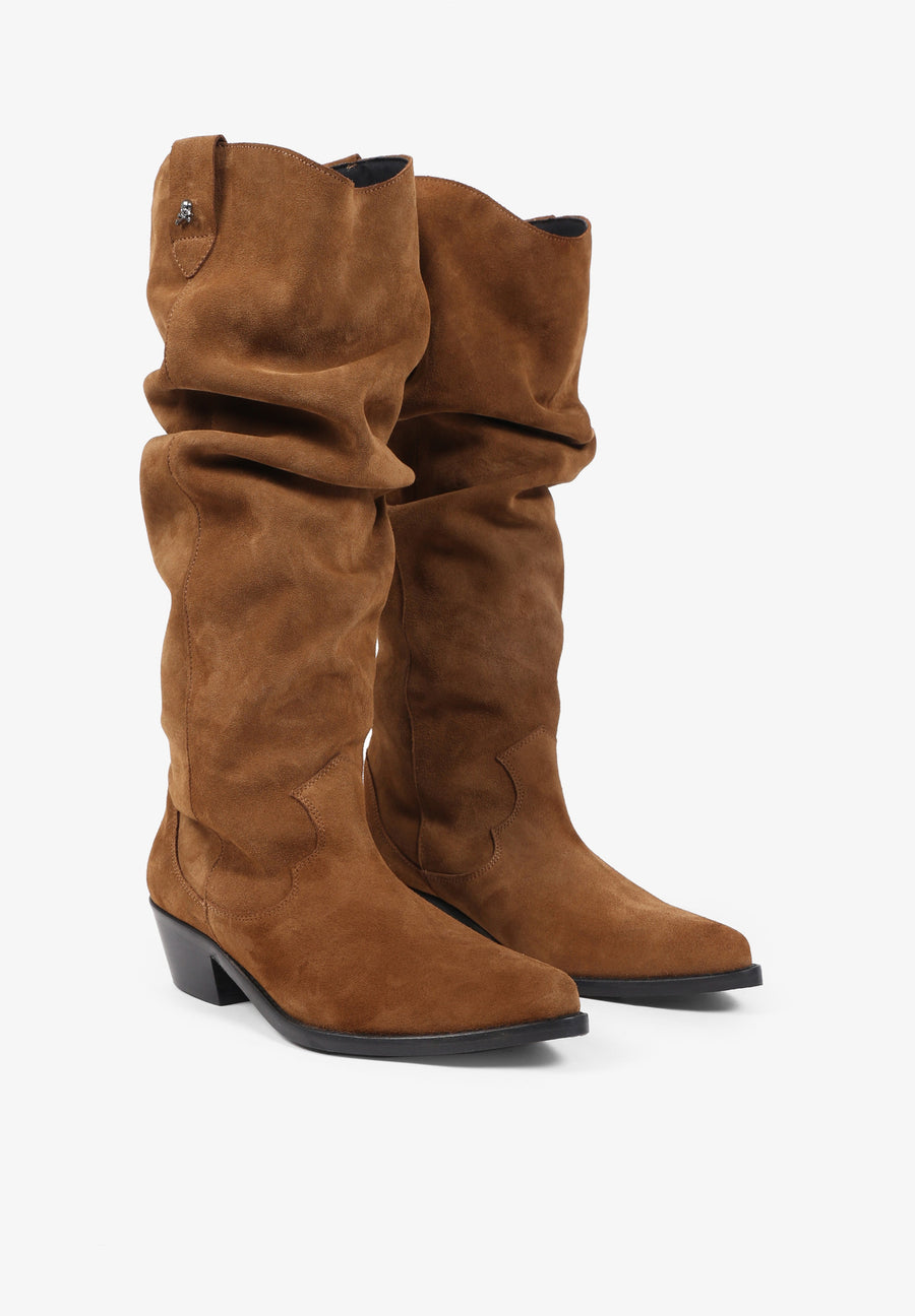 KNEE-HIGH SPLIT SUEDE BOOTS