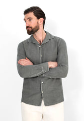 LINEN SHIRT WITH PYJAMA-STYLE COLLAR