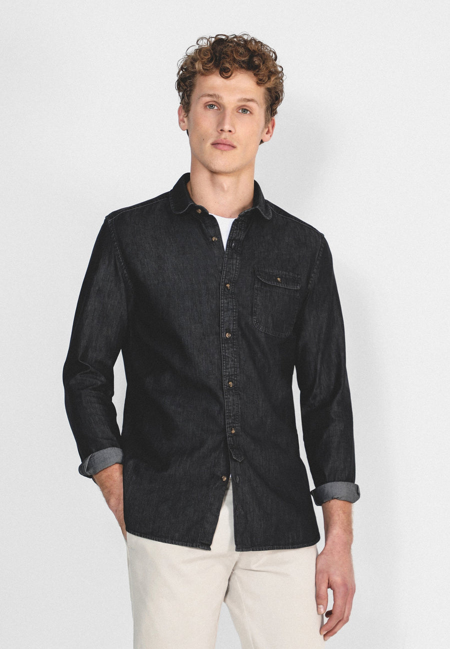 ROUNDED COLLAR DENIM SHIRT