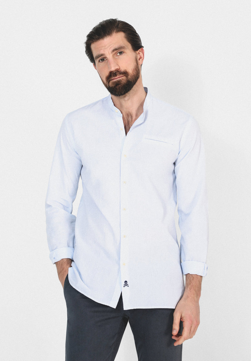 EMBELLISHED SHIRT WITH STAND-UP COLLAR