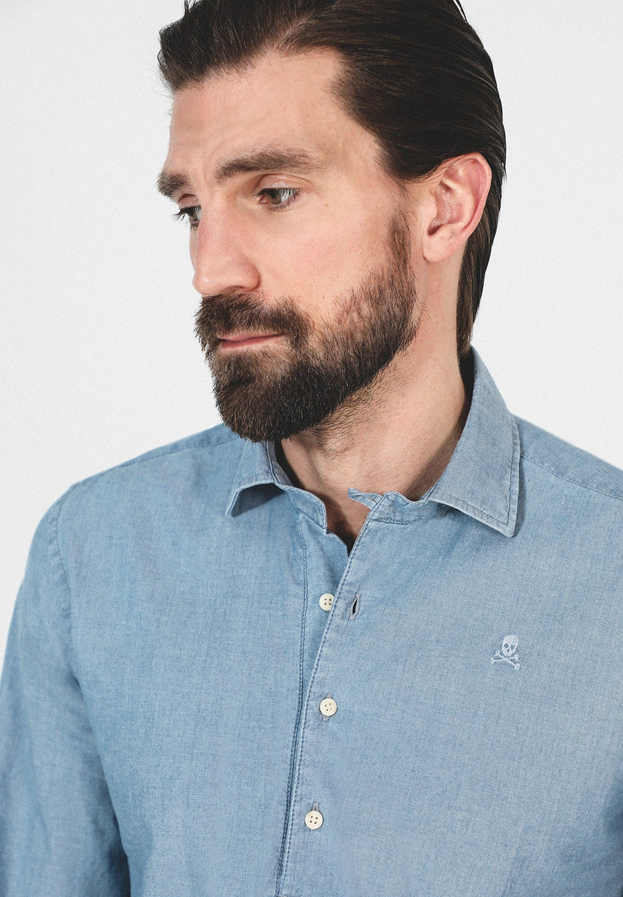 DENIM POLO NECK SHIRT