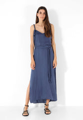 SLIP DRESS WITH BELT