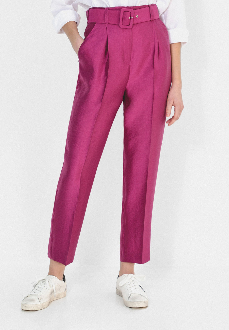TROUSERS WITH SATIN BELT