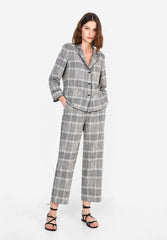 LINEN CHECKED TROUSERS