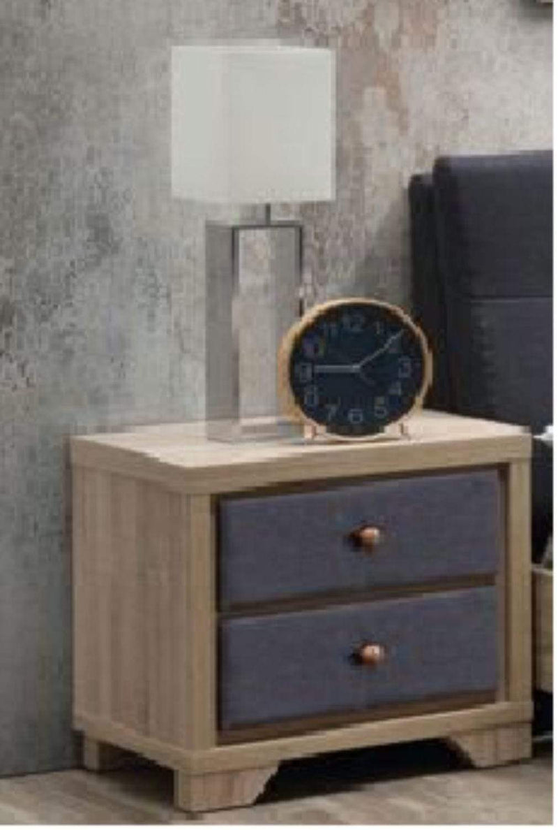 Artisan Bed Company Bedside Cabinet Grey Fabric And Beech 2 Drawer Bedside Cabinet