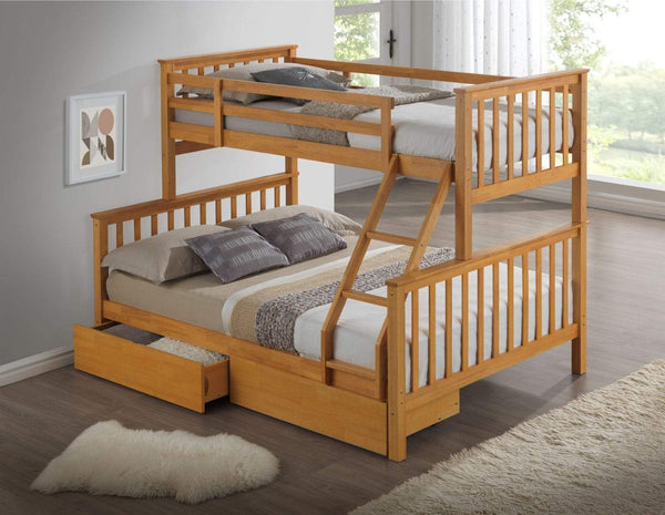 Artisan Bed Company Bunk Bed Charlotte 2 In 1 Beech Three Sleeper Bunk Bed