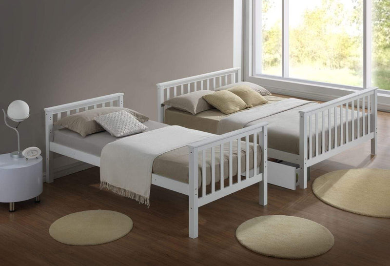 Artisan Bed Company Bunk Bed Charlotte 2 In 1 White Three Sleeper Bunk Bed