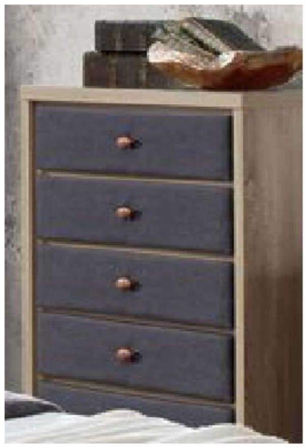 Artisan Bed Company Chest of Drawers Grey Fabric And Beech 5 Drawer Chest