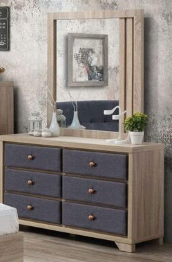 Artisan Bed Company Chest of Drawers Grey Fabric And Beech 6 Drawer Chest