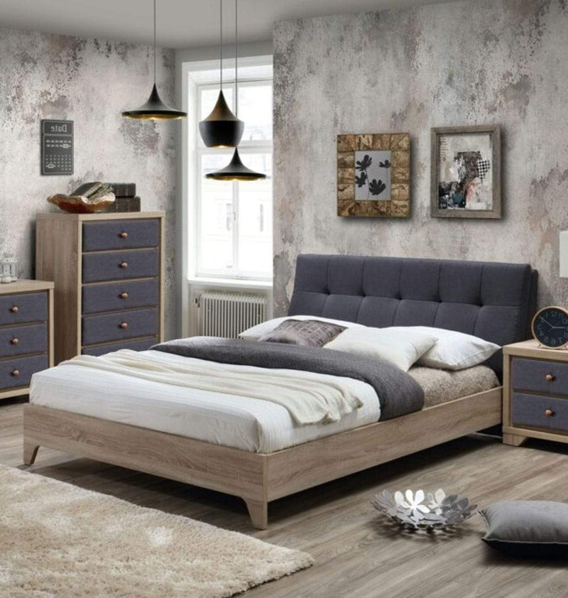 Artisan Bed Company Fabric Bed Grey Fabric And Beech Bed - Artisan 3376