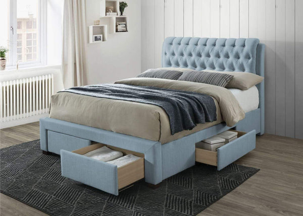 Artisan Bed Company Storage Bed Blue 4 Drawer Fabric Storage Bed (Front & Side) - Artisan 3013