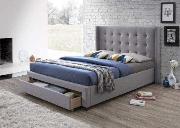 Artisan Bed Company Storage Bed Devon Grey Fabric Bed With Large Storage Drawer - Artisan 3561