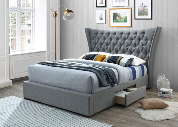 Artisan Bed Company Storage Bed Light Grey Fabric Bed With Large Headboard And 2 Storage Drawers - Artisan 4560