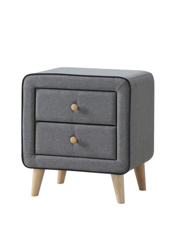 Artisan Bed Company Bedside Cabinet Stockholm Grey Fabric 2 Drawer Bedside Cabinet Bed Kings