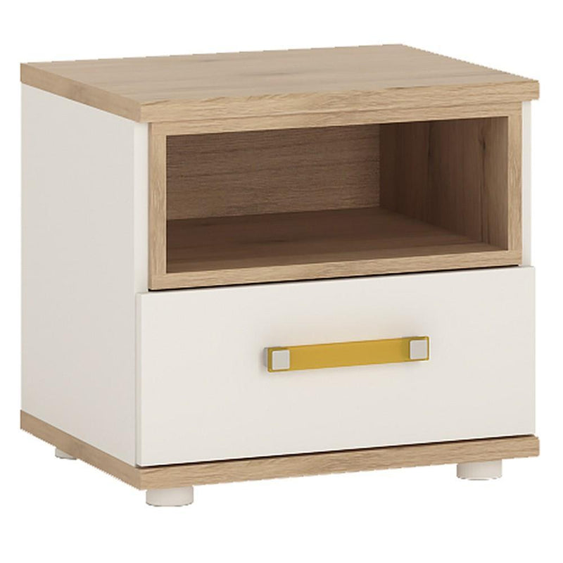 4Kids 1 Drawer Bedside Cabinet - Orange Handles