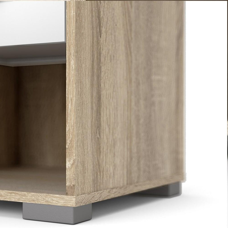 Homeline Bedside 1 Drawer in Oak with White High Gloss