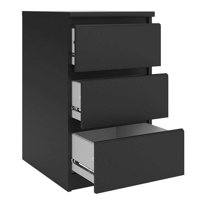 Naia Bedside - 3 Drawers in Black Matt