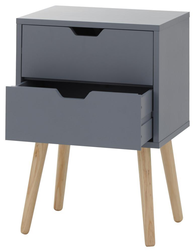 Nyborg Set of 2 Bedside Cabinets with 2 drawers Dark Grey