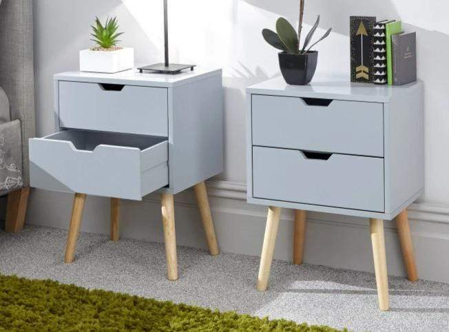 Nyborg Set of 2 Bedside Cabinets with 2 drawers Light Grey
