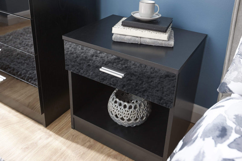 GFW Bedside Table Melbourne Bedside Black + Black Bed Kings