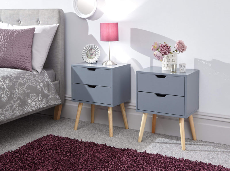 GFW Bedside Table Nyborg Pair Of 2 Drawer Bedsides Dark Grey Bed Kings