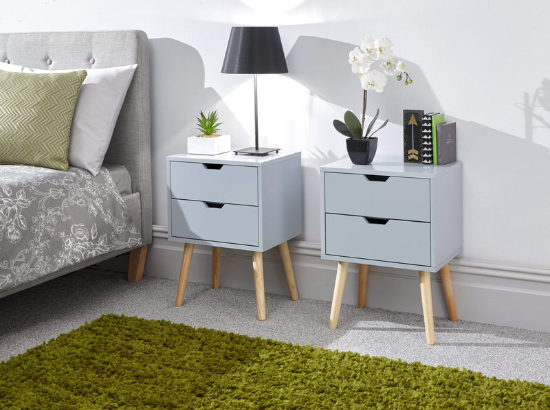 GFW Bedside Table Nyborg Pair Of 2 Drawer Bedsides Light Grey Bed Kings
