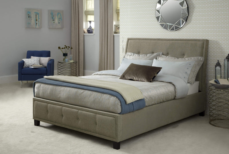 Serene Bedstead Wesley   Fabric Upholstered Bedstead - Mink Bed Kings