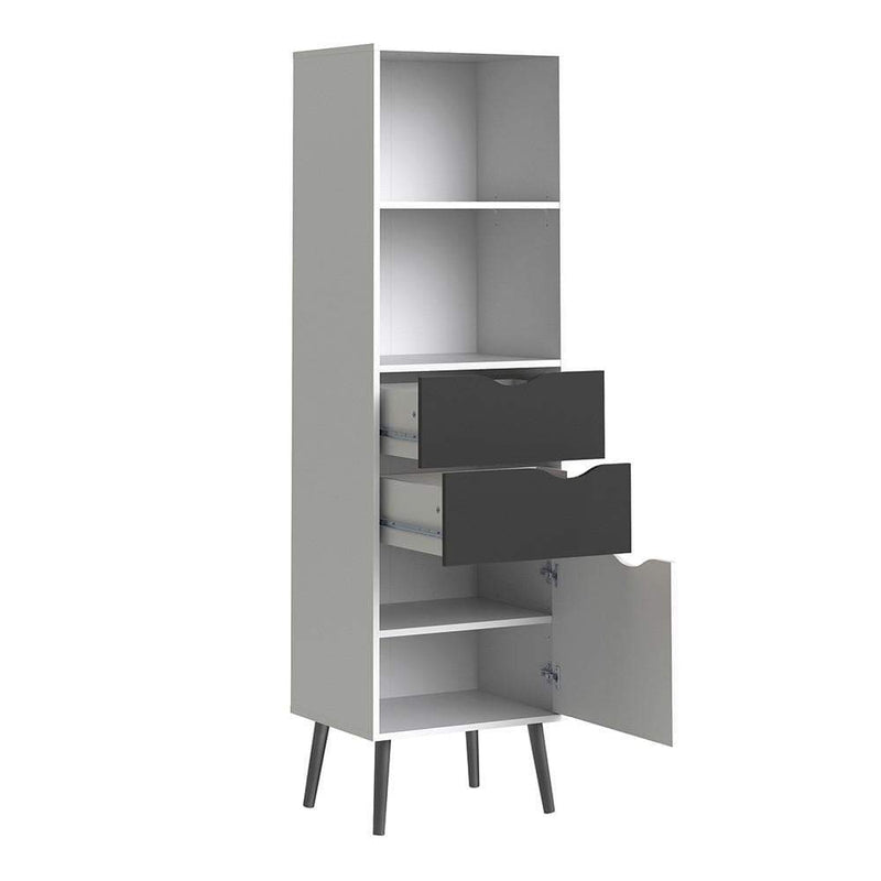 Oslo - Bookcase 2 Drawers 1 Door in White and Black Matt