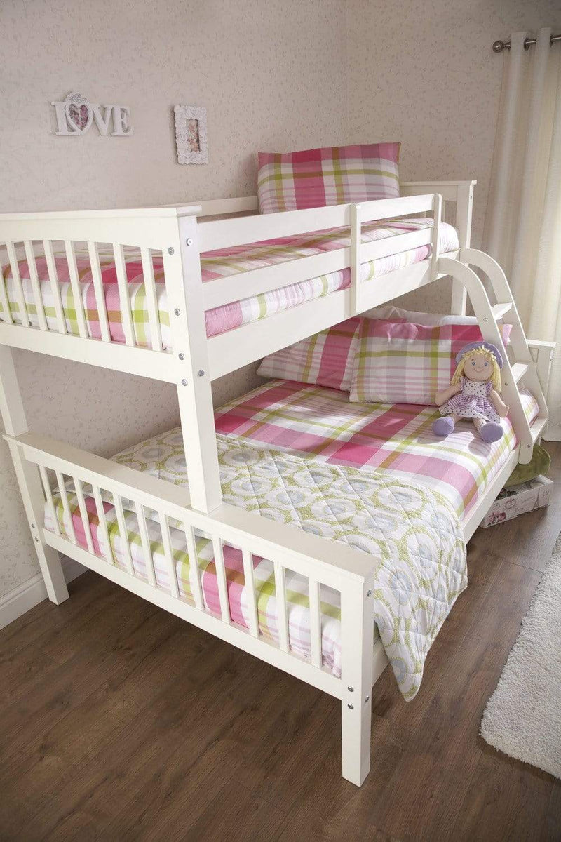 GFW Bunk Bed Double 135cm 4ft 6in Novaro Triple Bunk Bed - White - 2 beds in 1 Bed Kings