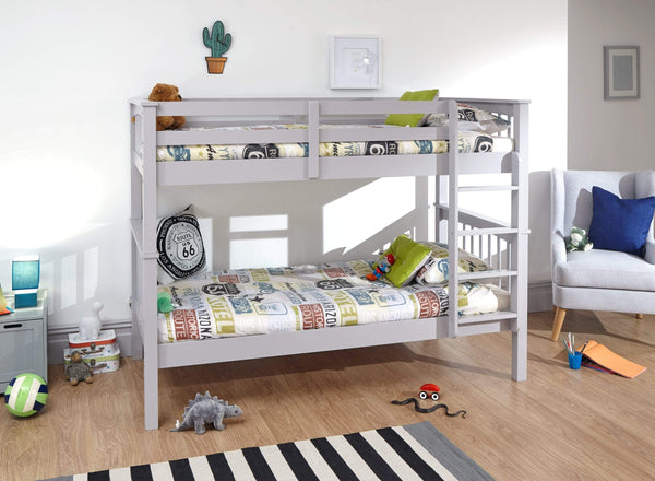 GFW Bunk Bed Single 90cm 3ft New Novaro Bunk Bed Grey - 2 beds in 1 Bed Kings