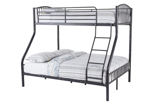 Serene Bunk Bed Double 135cm 4ft 6in Oslo Three Sleeper Metal Bunk Bed  - Black Bed Kings