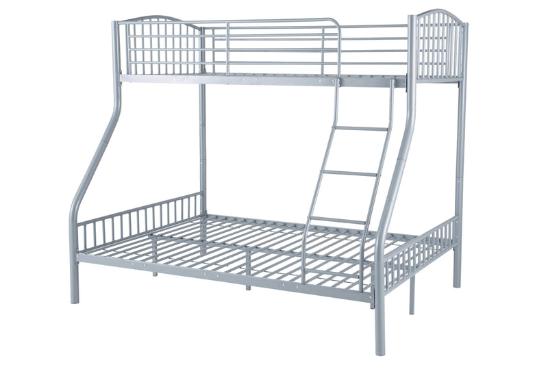 Serene Bunk Bed Double 135cm 4ft 6in Oslo Three Sleeper Metal Bunk Bed  - Silver Bed Kings