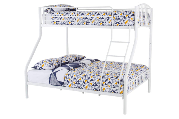 Serene Bunk Bed Double 135cm 4ft 6in Oslo Three Speeper Metal Bunk Bed  - White Bed Kings