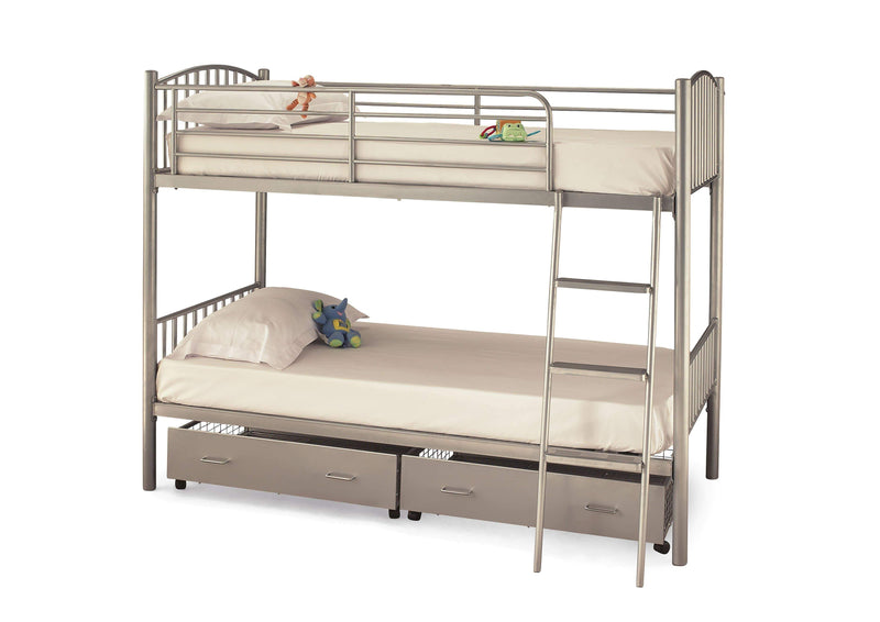 Serene Bunk Bed Oslo  Metal Bunk Bed  - Silver Bed Kings