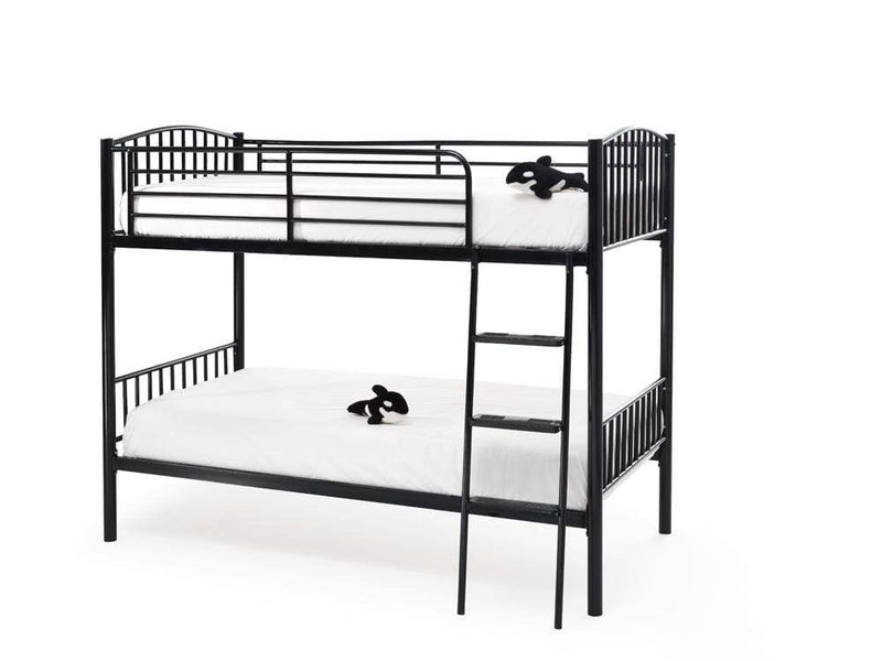 Serene Bunk Bed Single 90cm 3ft Oslo  Metal Bunk Bed  - Black Bed Kings