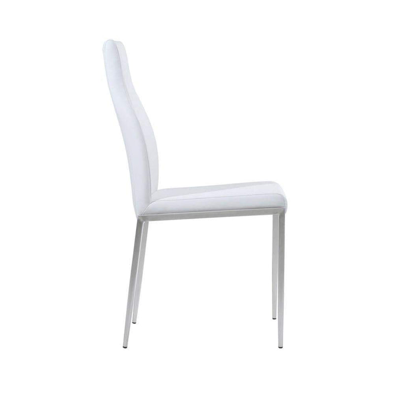 Milan High Back Chair - Set of 2 - White Leather