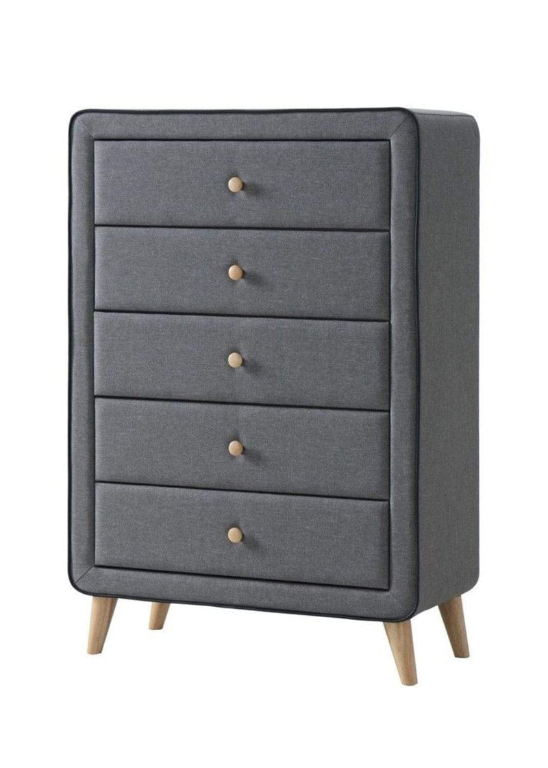 Artisan Bed Company Chest of Drawers Stockholm Grey Fabric 5 Drawer Chest Bed Kings
