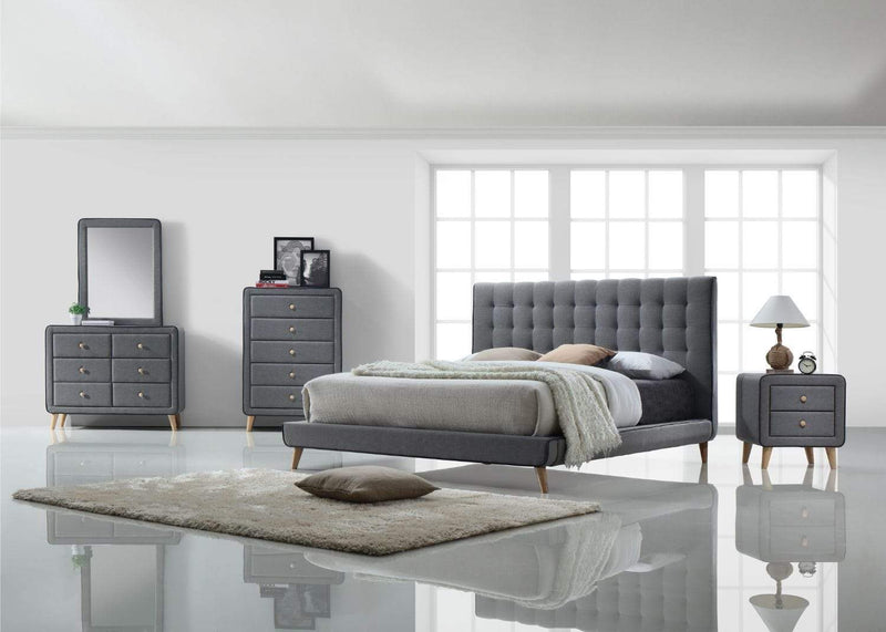 Artisan Bed Company Chest of Drawers Stockholm Grey Fabric 6 Drawer Chest Bed Kings