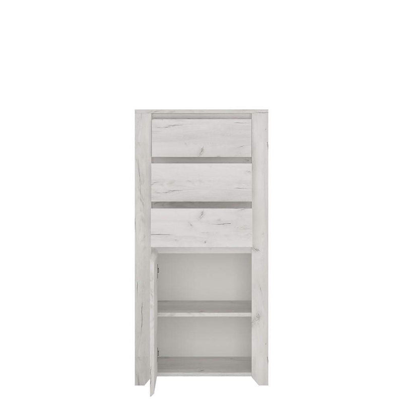 Angel 1 Door 3 Drawer Chest White