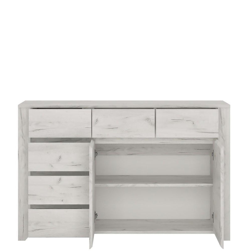 Angel 2 Door 3+3 Drawer Wide Chest White