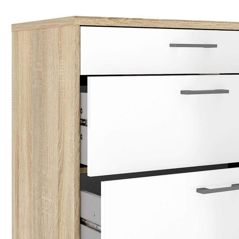 Homeline Chest of 4 Drawers in Oak with White High Gloss