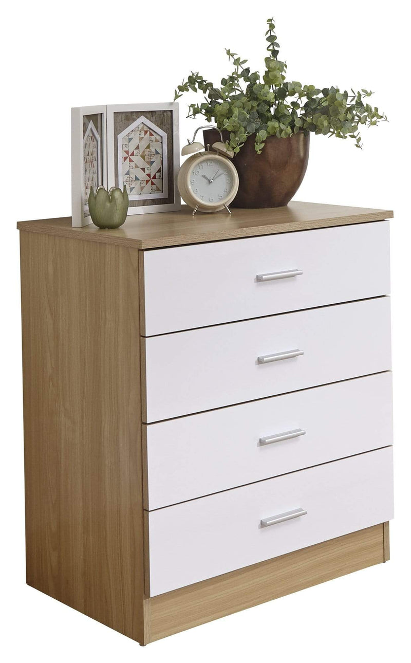 GFW Chest of Drawers Melbourne 4 Drawer Chest White + Oak Bed Kings