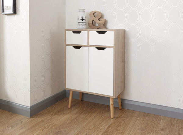 GFW Chest of Drawers Stockholm 2 Door 2 Drw Cabinet White Oak Bed Kings