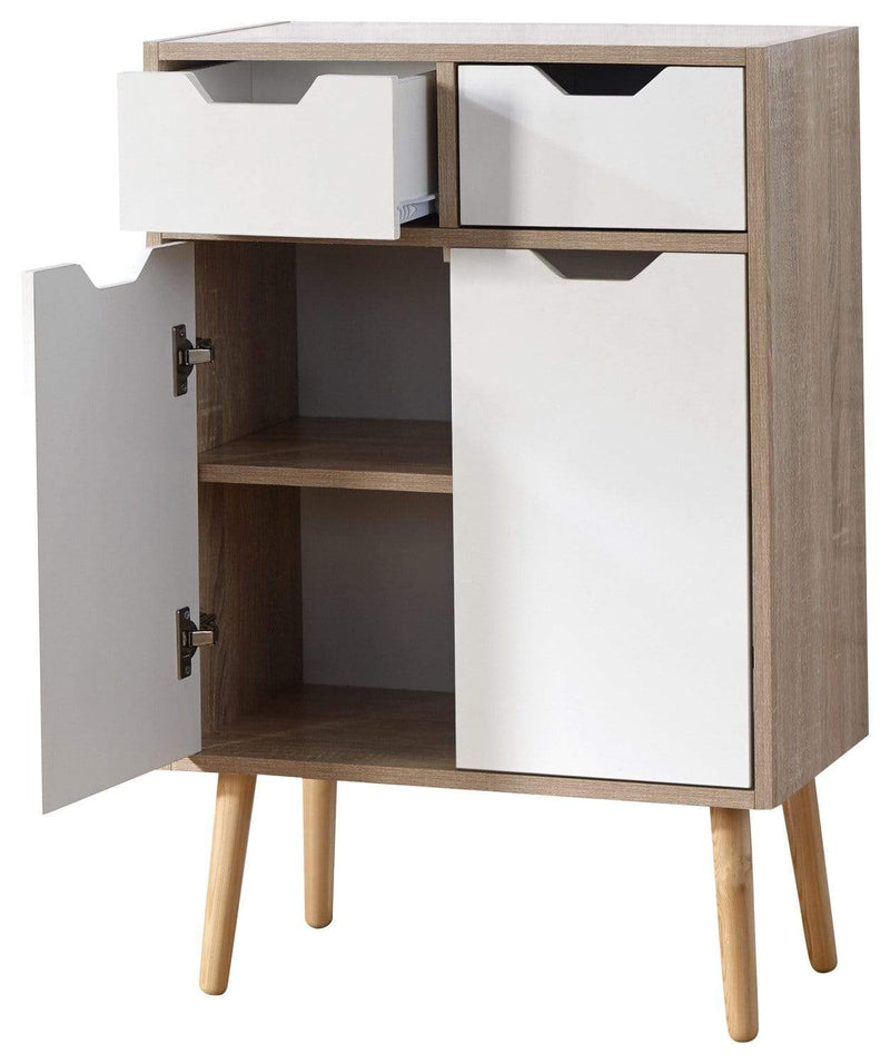 Stockholm 2 Door 2 Drw Cabinet White Oak