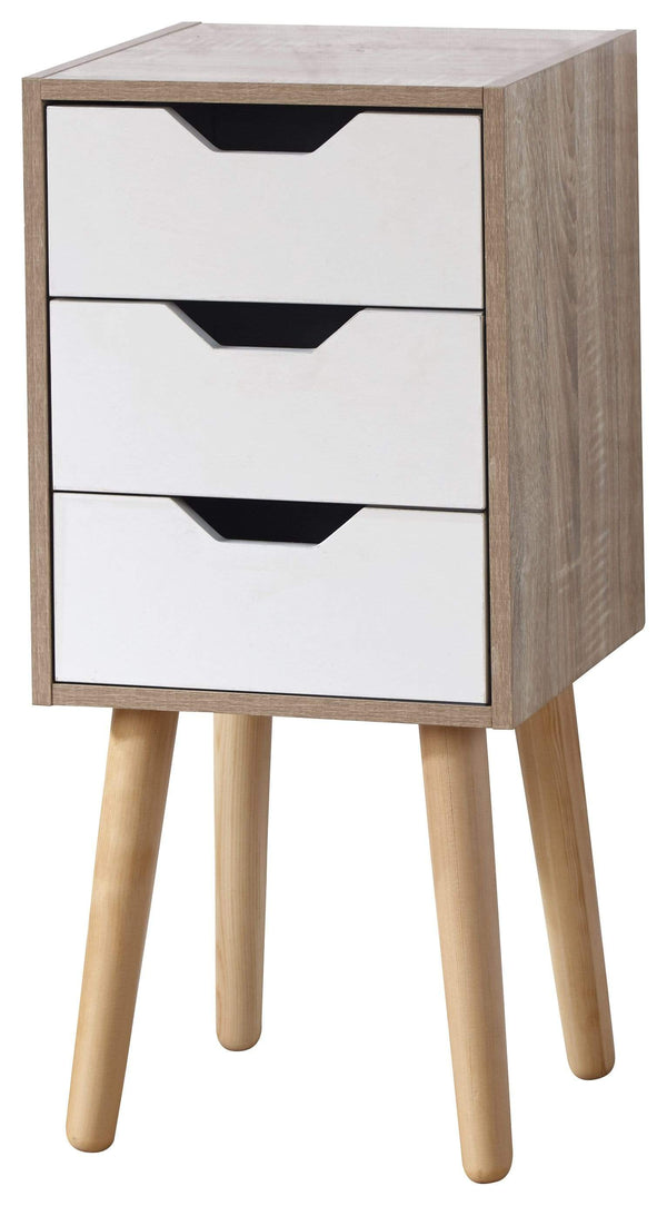 GFW Chest of Drawers Stockholm 3 Drawer Slim Chest White Oak Bed Kings