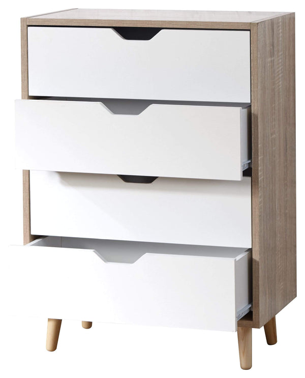 GFW Chest of Drawers Stockholm 4 Drawer Chest White Oak Bed Kings