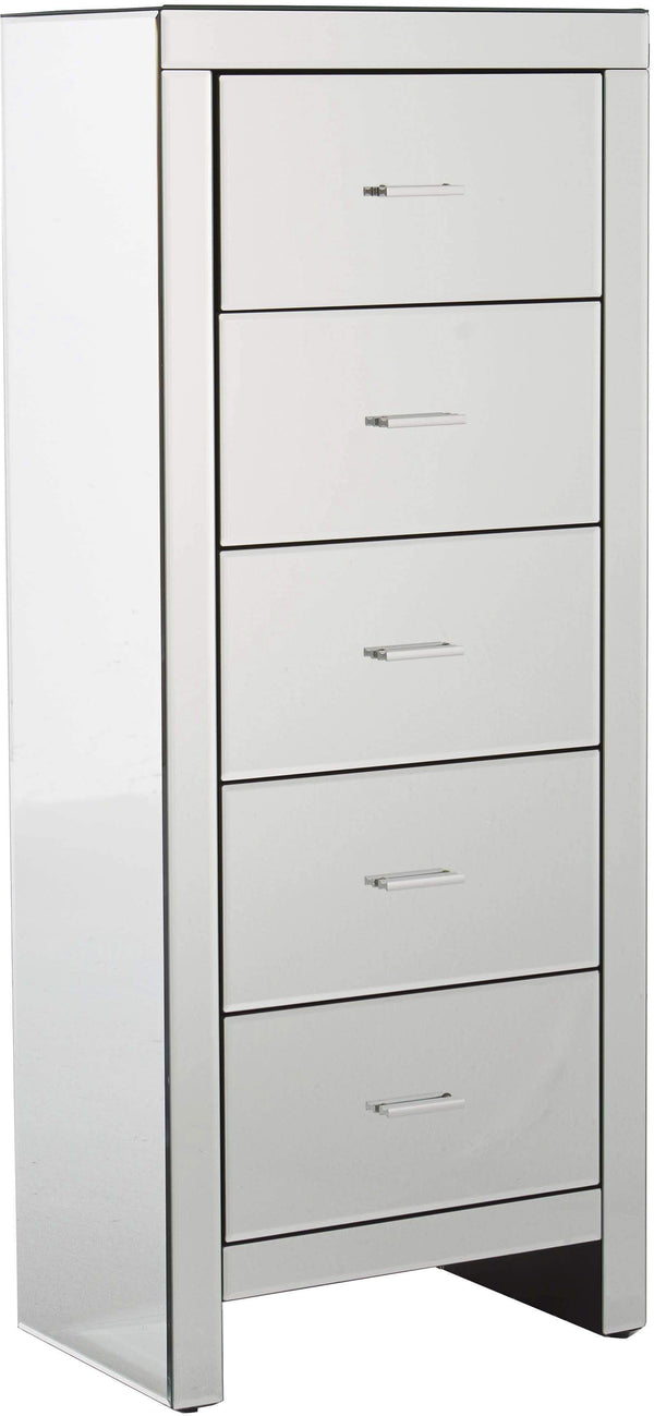 GFW Chest of Drawers Venetian 5 Drawer Tallboy Clear Mirror Finish Bed Kings
