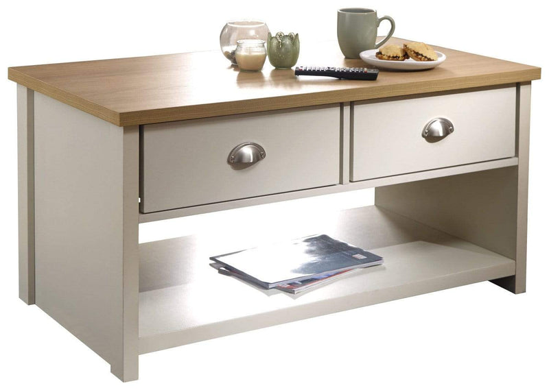 Lancaster 2 Drawer Coffee Table Cream