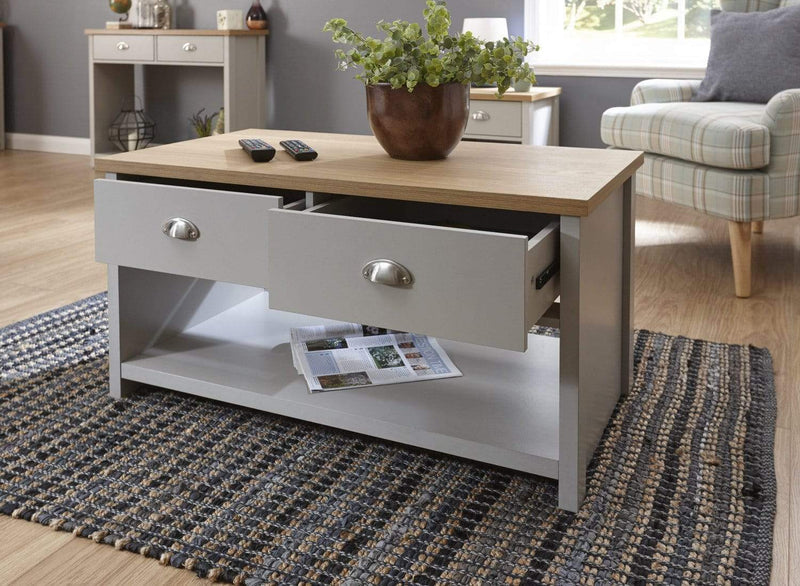 Lancaster 2 Drawer Coffee Table Grey