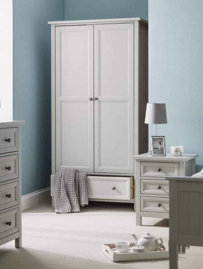 Julian Bowen COMBINATION WARDROBE Maine 2 Door Combination Wardrobe - Dove Grey Bed Kings